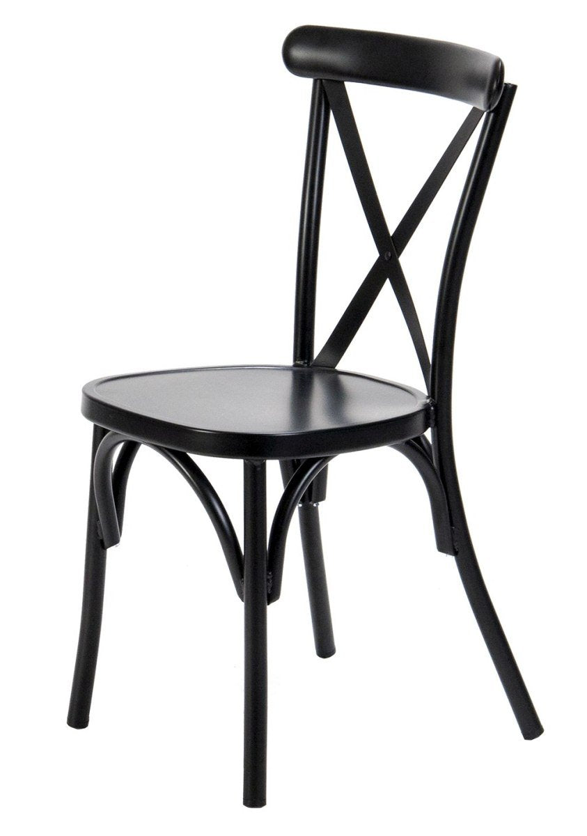 Ruelle Outdoor Stacking Chair Matt Black-fliphome.com.au