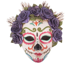Calavera White Mask With Purple Rose