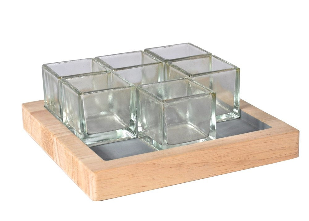 Elementer Kesa Square Tray 6 Glass Candle Holder