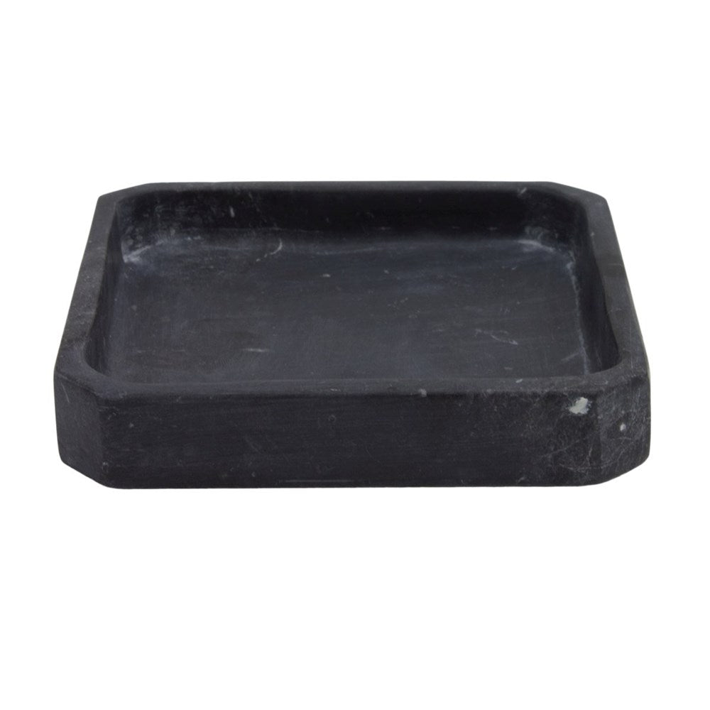 Elementer Marble & Leather Trinket Tray - Black