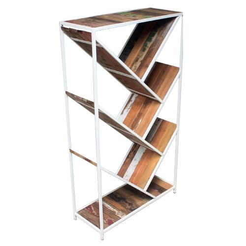 UP BOOKCASE MIXED WOOD WHITE-fliphome.com.au