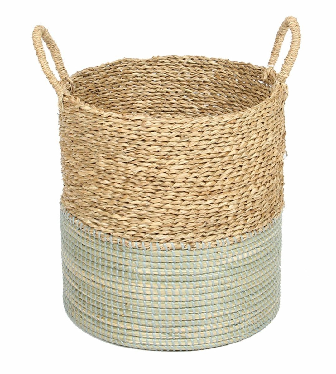 Basket 2Tone Natural And Mystic Blue-fliphome.com.au