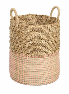 Basket 2Tone Natural And Coral Pink-fliphome.com.au