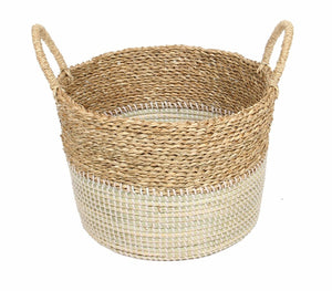 Basket 2Tone Natural White With Handles-fliphome.com.au