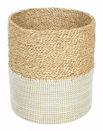 Basket 2Tone Natural White-fliphome.com.au