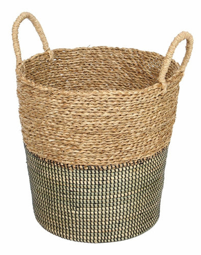 Basket 2Tone Natural Black With Handles-fliphome.com.au