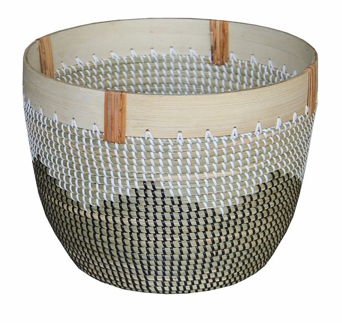 Tribe Planter With Wooden Rim Large-fliphome.com.au