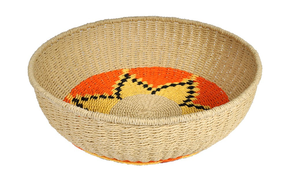 Natural Woven Bowl Flower Orange|Yellow Extra Large