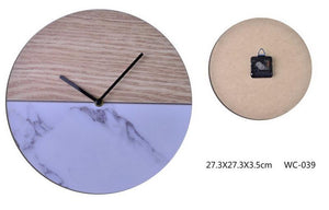 Plywood And Marble Face Clock-fliphome.com.au