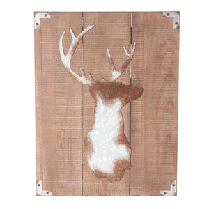 Luxe Stag On Timber Panels Wall Decor-fliphome.com.au