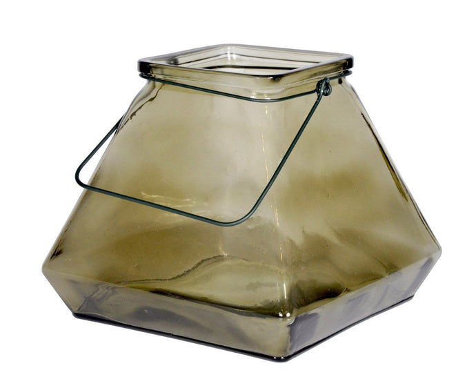 Pyramid Glass Lantern Black-fliphome.com.au