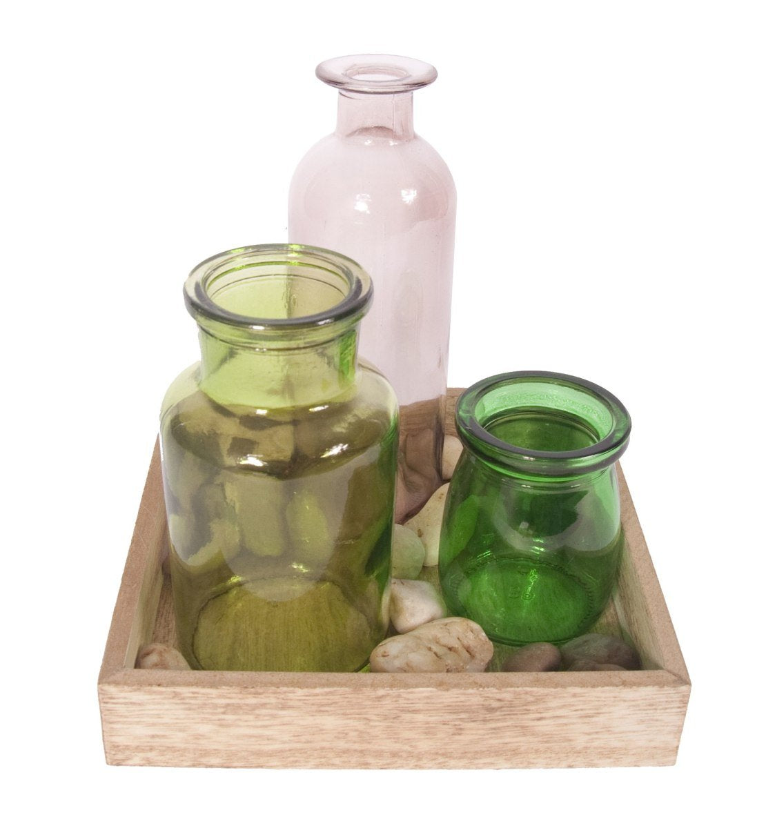 Contemporay Candle Vases S/3 Square Tray-fliphome.com.au