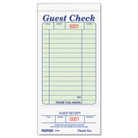 Guest Check Book, 3 3/8 x 6 1/2, Tear-Off at Bottom, 50/Book (RED5F740)