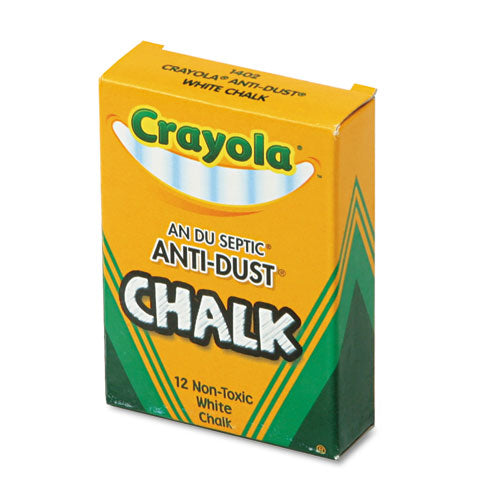 Crayola Nontoxic Anti-Dust Chalk, White, 12 Sticks/Box CYO501402