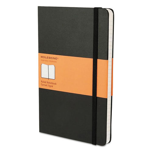 Moleskine® Hard Cover Notebook, Narrow Rule, Black Cover, 8.25 x 5, 192 Sheets, HBG MBL14