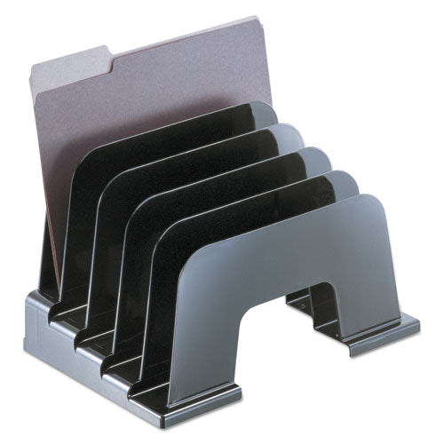 "Recycled Plastic Incline Sorter, 5 Sections, Letter Size Files, 13.25"" x 9"" x 9"", Black (UNV08105)"