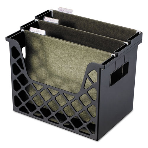 Recycled Desktop File Holder, Plastic, 13 1/4 X 8 1/2 X 9 5/8, Black (UNV08123)