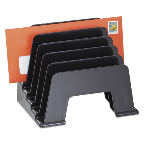 "Recycled Plastic Incline Sorter, 5 Sections, DL to A5 Size Files, 8"" x 5.5"" x 6"", Black (UNV08104)"