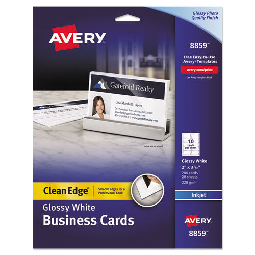 Avery Clean Edge Business Cards, Inkjet, 2 x 3 1/2, Glossy White, 200/Pack AVE 8859