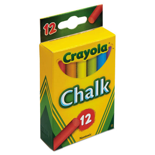 Crayola Chalk, 6 Assorted Colors, 12 Sticks/Box CYO510816