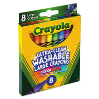 Crayola Ultra-Clean Washable Crayons, Large, 8 Colors/Box CYO523280