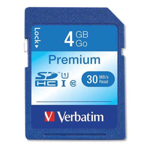 4GB Premium SDHC Memory Card, UHS-I U1 Class 10, Up to 30MB/s Read Speed, VER 96171