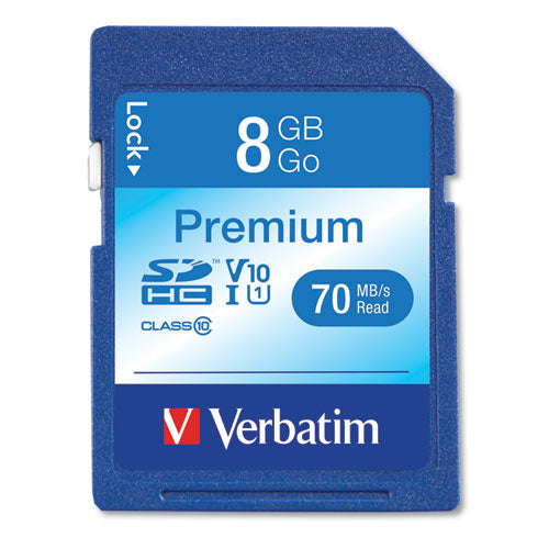 8GB Premium SDHC Memory Card, UHS-1 V10 U1 Class 10, Up to 70MB/s Read Speed, VER 96318