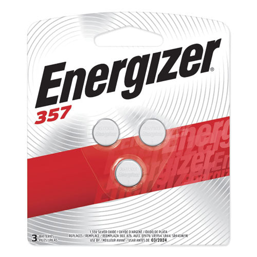 Energizer® 357/303 Silver Oxide Button Cell Battery, 1.5V, 3/Pack, EVE 357BPZ3