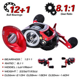 4 Section M Power Carbon Fiber Baitcsting Rod and  Left/Right Hand Casting Reel Fishing Combos Set
