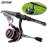 Goture AQUILA Metal Fishing Reel Rod Combo 1.8-3.6M Telescopic Carbon Rod with 2000-4000 Spinning Fishing Reel