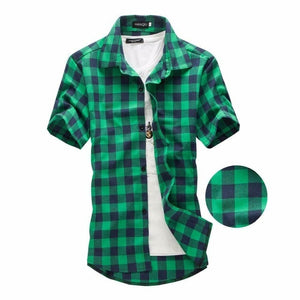 Checkered Short Sleeve Shirt - Plaid Men Shirts Black, Red, Blue & Green