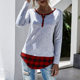 Women Fashion Plaid Patchwork T Shirt