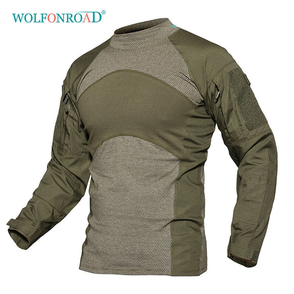 WOLFONROAD Men Army Green Rip-stop Tactical T Shirts