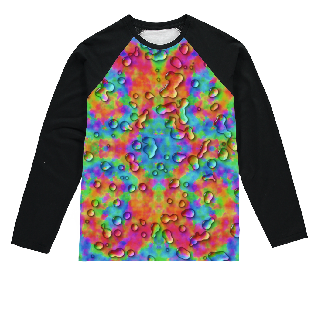 Rainbow 3D tie dye bright colors Sublimation Baseball Long Sleeve T-Shirt