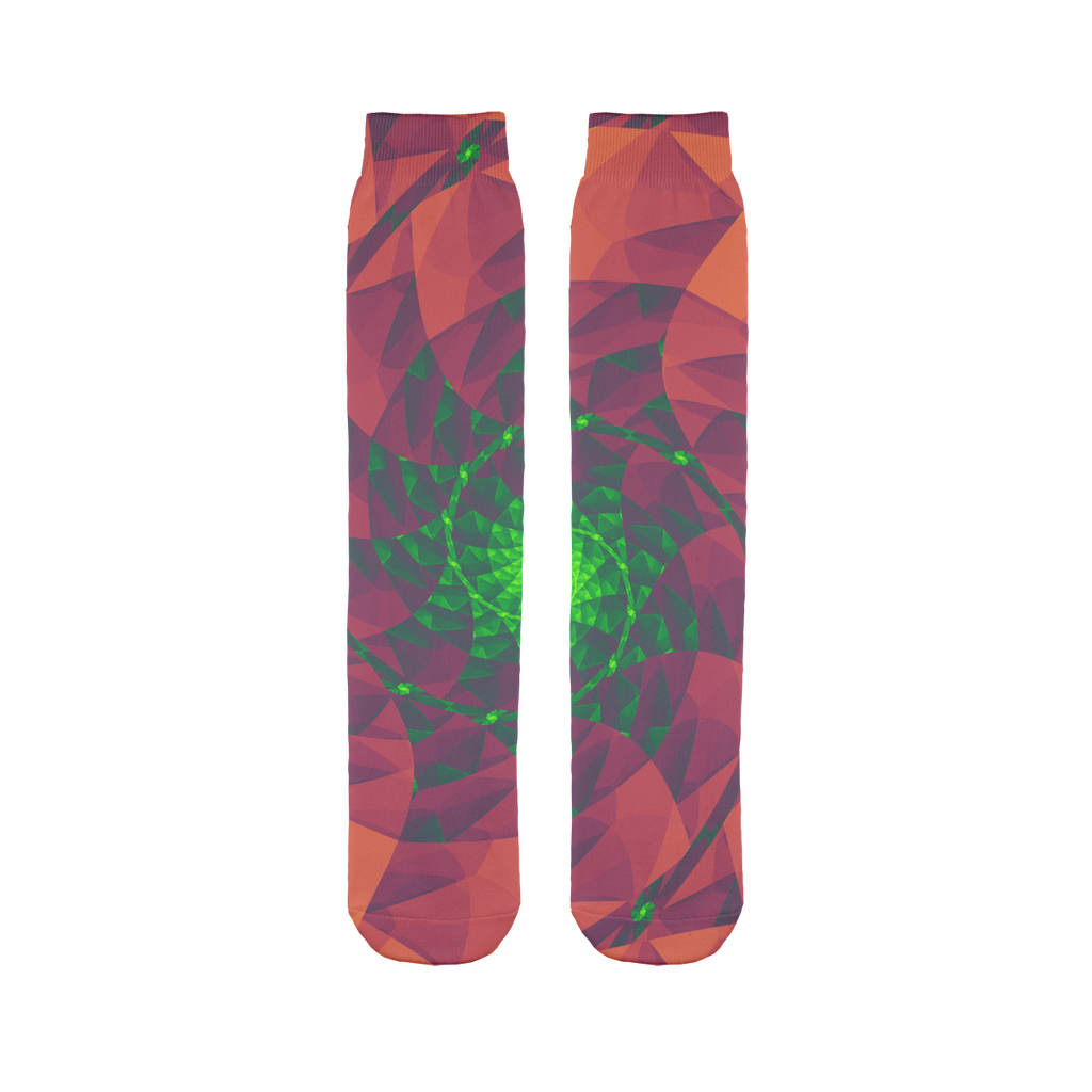 Cool 3D spiral fractal print Sublimation Tube Sock
