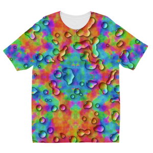 Rainbow 3D tie dye bright colors Sublimation Kids T-Shirt