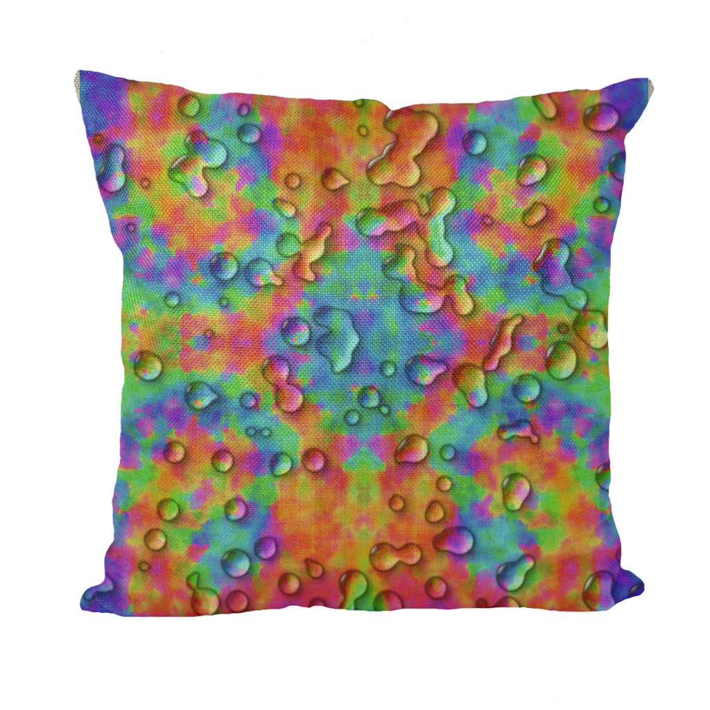 Rainbow 3D tie dye bright colors Throw Pillows