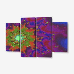 Print of an original fractal abstract art piece on a quality 4 panel canvas wall art set