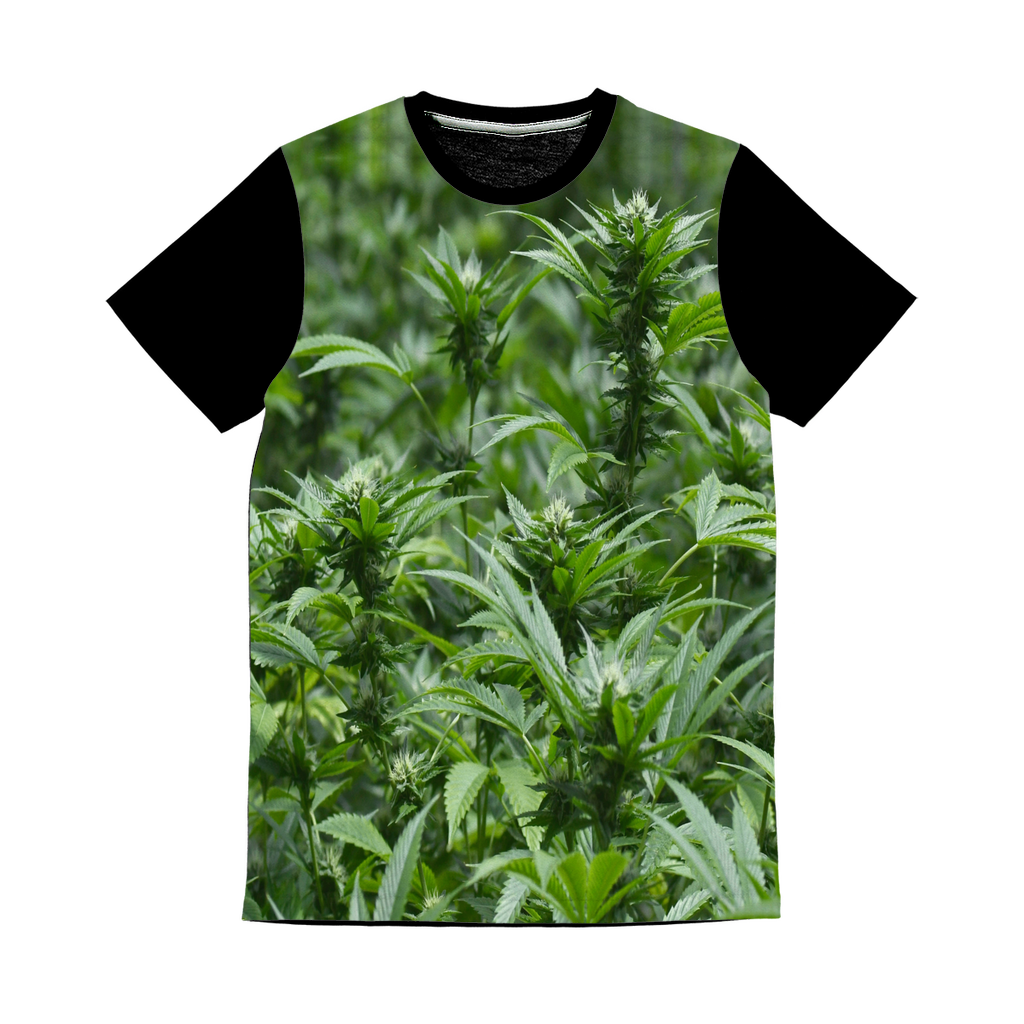 All over print cannabis bud weed Classic Sublimation Panel T-Shirt