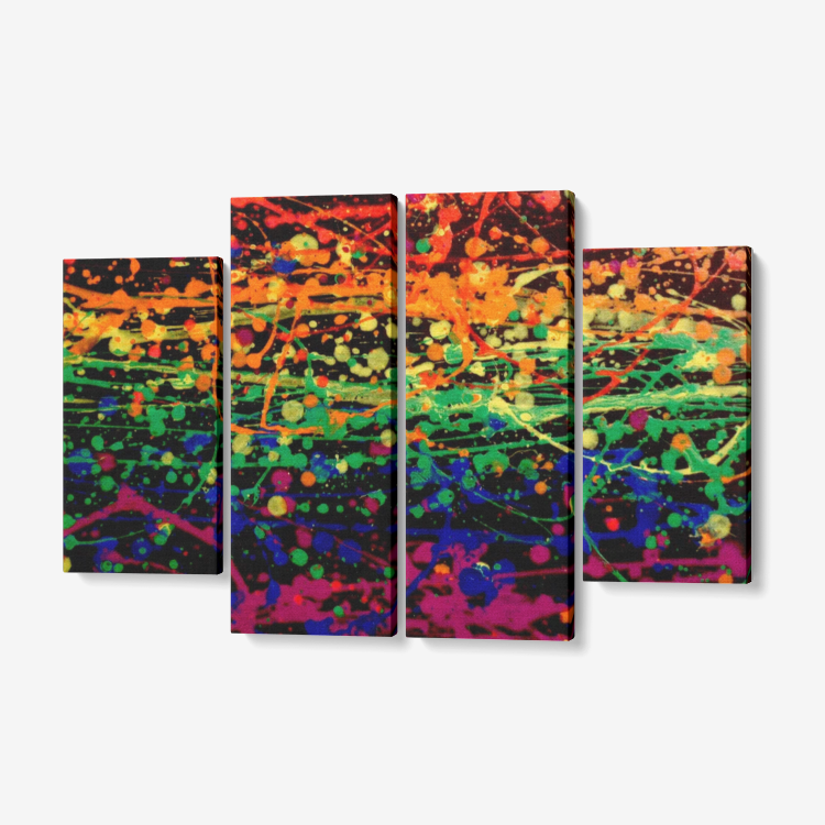 Original abstract rainbow pride painting art print on 4 canvas panels.