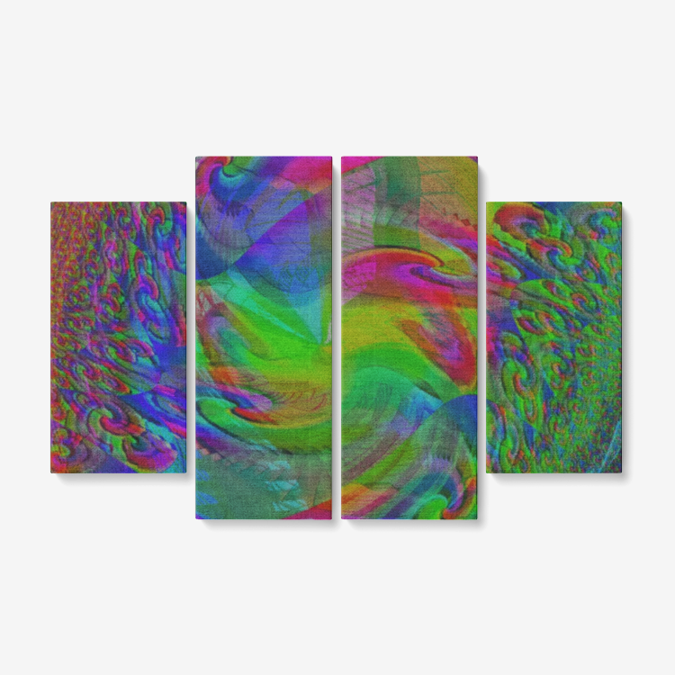 "Print of original fractal abstract art piece on a 4 Piece canvas wall art set 32""x 48"""