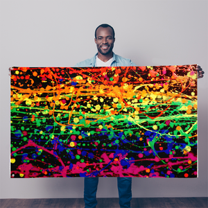 Rainbow pride abstract splatter painting print Sublimation Flag