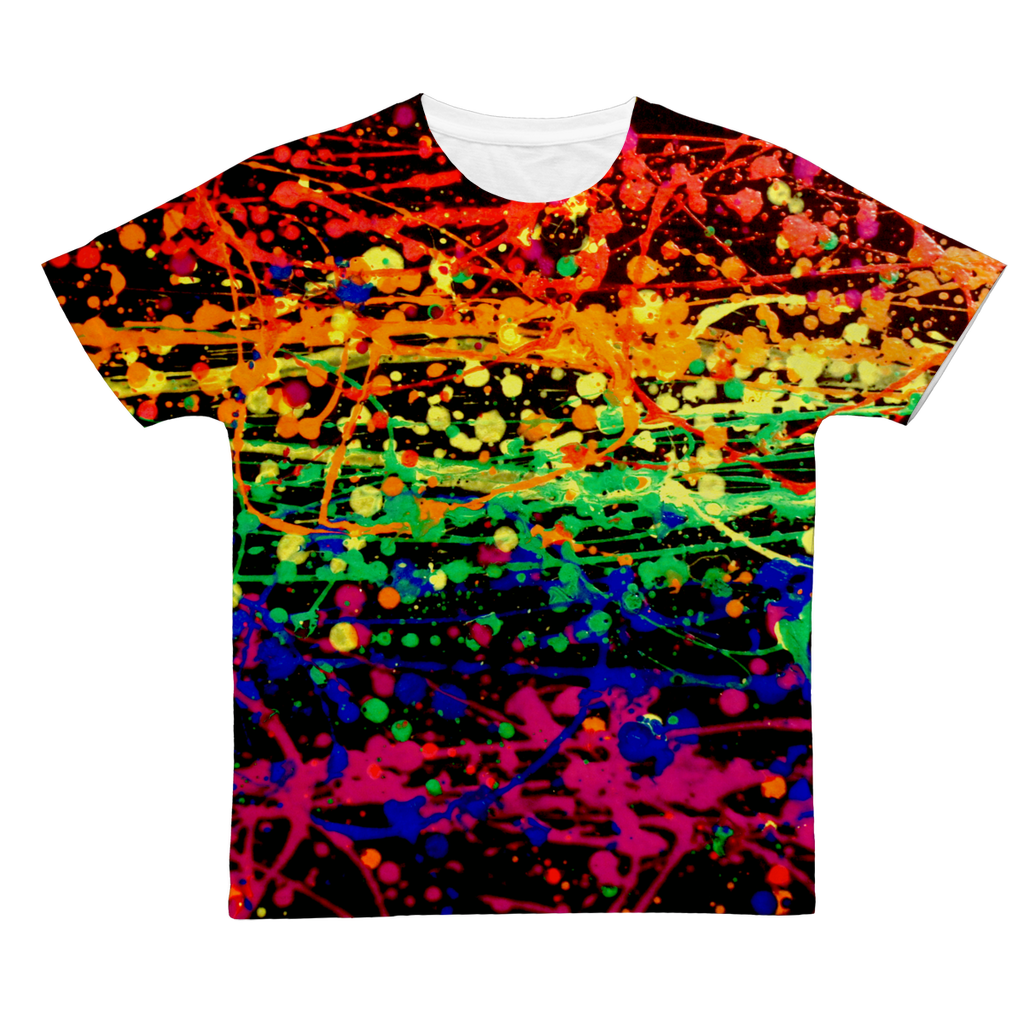 Rainbow pride abstract splatter painting print Classic Sublimation Adult T-Shirt