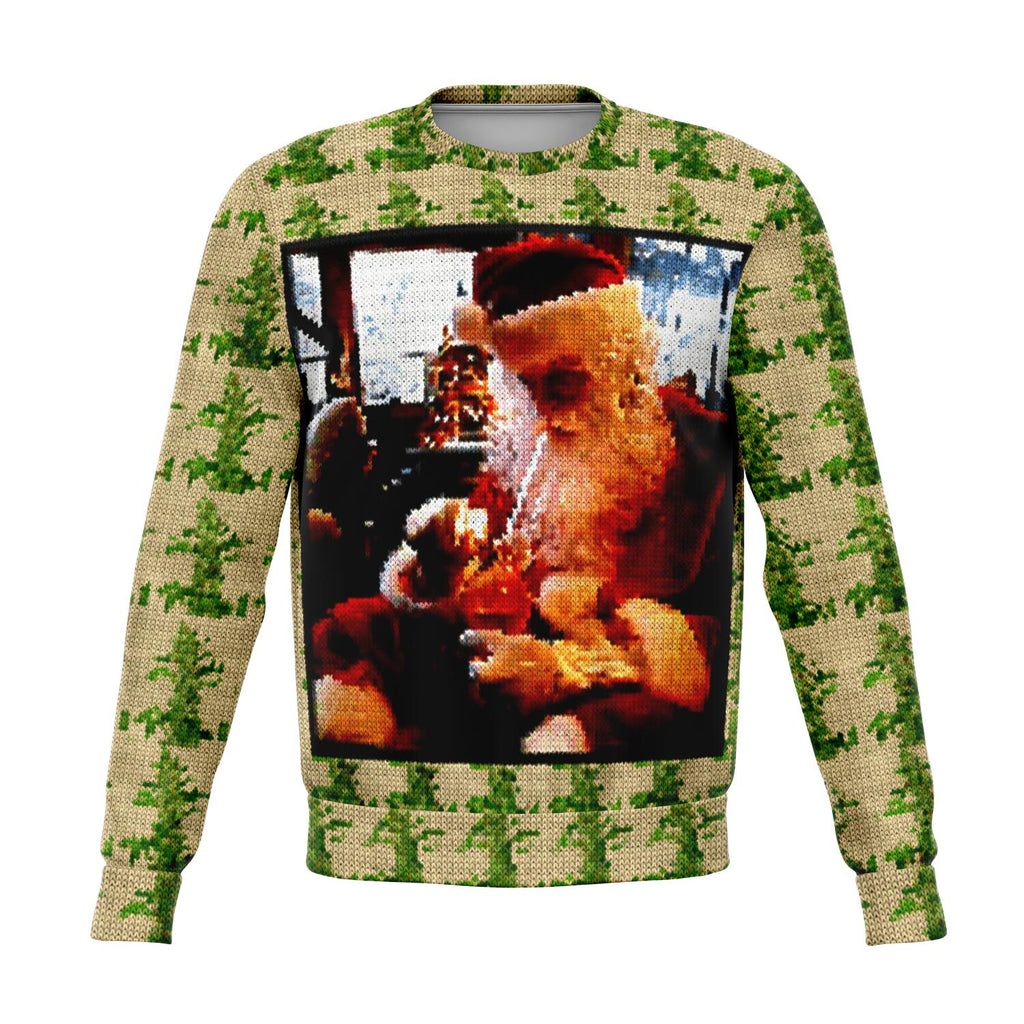 Santa smoking funny and very ugly Christmas sweater