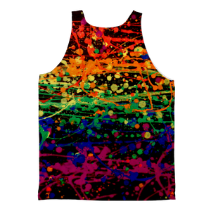 Rainbow pride abstract splatter painting print Classic Sublimation Adult Tank Top