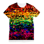 Rainbow pride abstract splatter painting print Classic Sublimation Women's T-Shirt