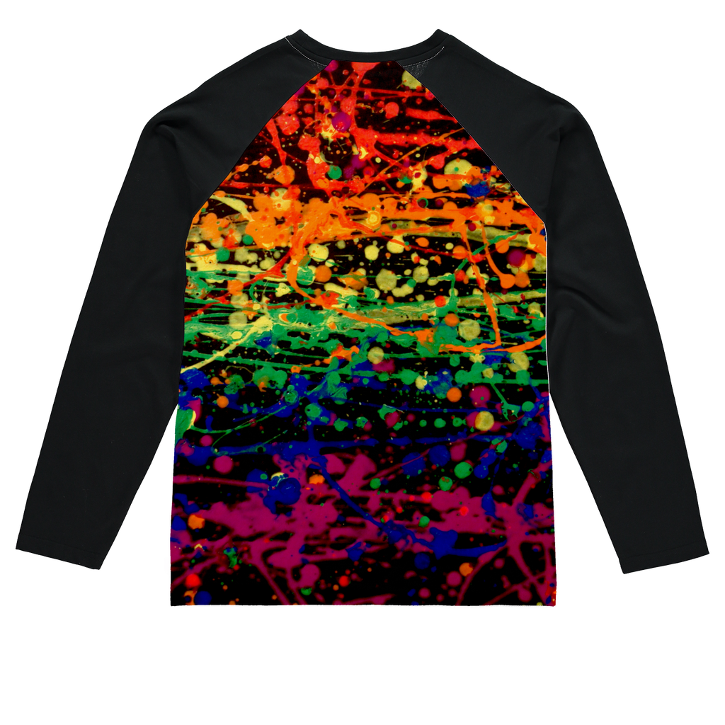 Rainbow pride abstract splatter painting print Sublimation Baseball Long Sleeve T-Shirt