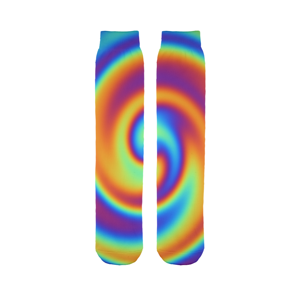 Rainbow Swirly Sublimation Tube Sock