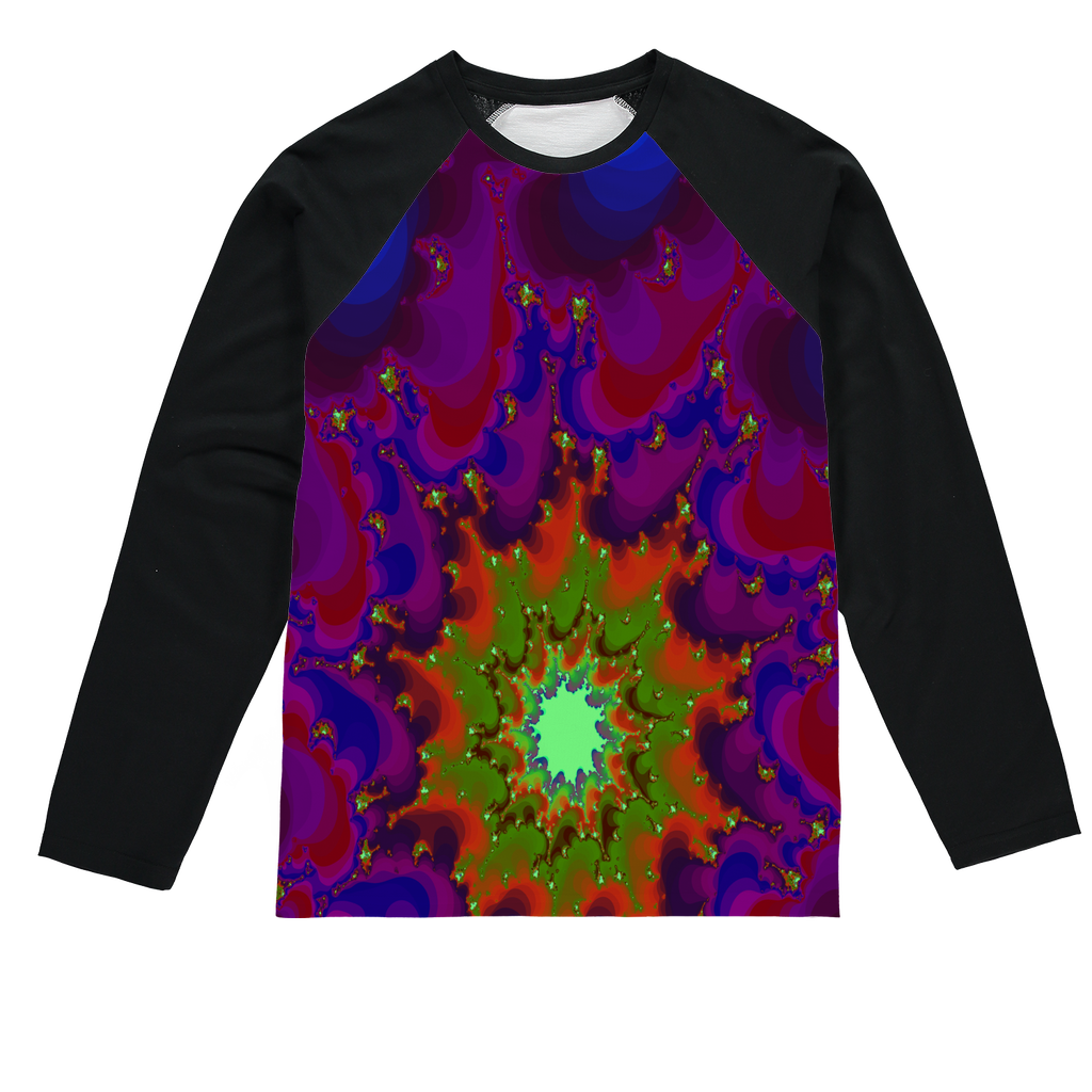 Cool 3D fractal spiral print Sublimation Baseball Long Sleeve T-Shirt