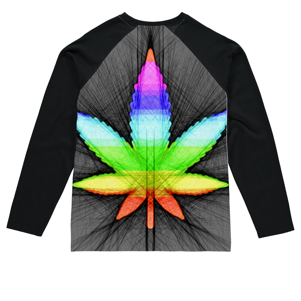 Abstract rainbow weed leaf line drawing Sublimation Baseball Long Sleeve T-Shirt
